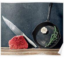 Cooking beef steak Poster