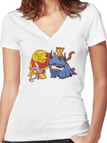 Naga the Poohlar Bear Dog & Friends Women's Fitted V-Neck T-Shirt