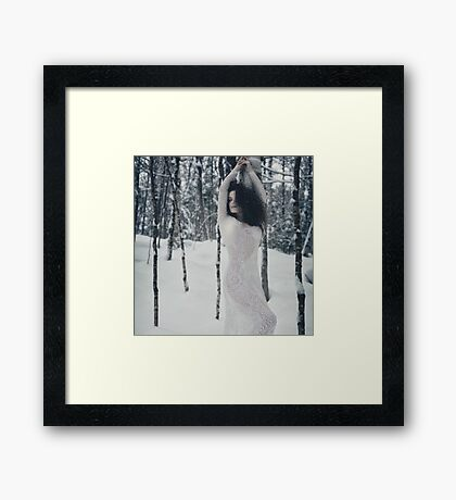 Woman in white lace dress in snowy winter nature scenery art photo print Framed Print