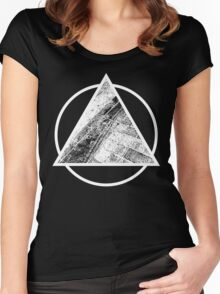Paved Pyramid White Women's Fitted Scoop T-Shirt
