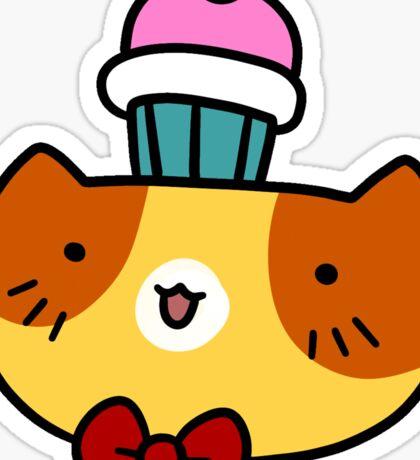 Cupcake Cat Face Sticker