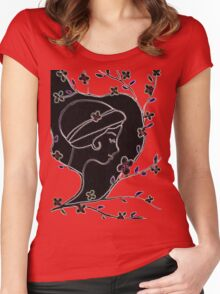 Young girl in a hat Women's Fitted Scoop T-Shirt