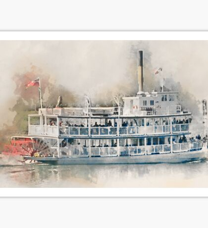 Cruising the Lake in a Paddle Wheeler - Digital Watercolor Sticker
