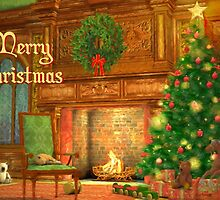 Fireplace Christmas Card - Merry Christmas by Sol Noir Studios