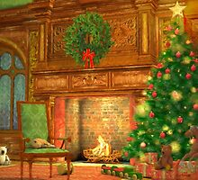 Christmas Fireplace by Sol Noir Studios