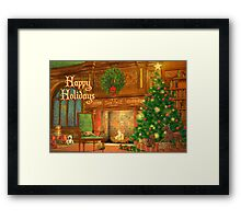 Fireplace Christmas Card - Happy Holidays Framed Print