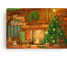 Fireplace Christmas Card - Happy Holidays Canvas Print