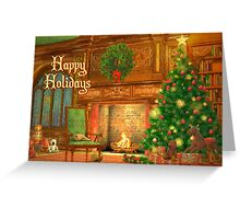 Fireplace Christmas Card - Happy Holidays Greeting Card