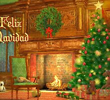 Fireplace Christmas Card - Feliz Navidad by Sol Noir Studios