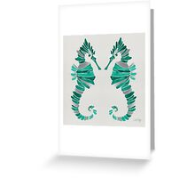 Seahorse – Turquoise & Silver Greeting Card