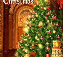 Tree and Presents Christmas Card - Merry Christmas by Sol Noir Studios