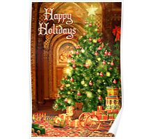 Tree and Presents Christmas Card - Happy Holidays Poster