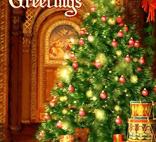 Tree and Presents Christmas Card - Seasons Greetings by Sol Noir Studios