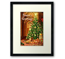 Tree and Presents Christmas Card - Seasons Greetings Framed Print