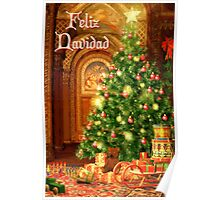 Fireplace Christmas Card - Feliz Navidad Poster