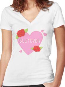 Slutever Heart Women's Fitted V-Neck T-Shirt