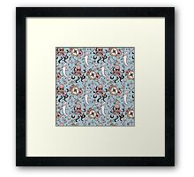 Blue Sea Creature Pattern Framed Print