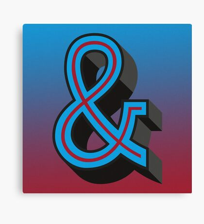 Red/Blue Ampersand 'AND' Symbol Retro Print Canvas Print