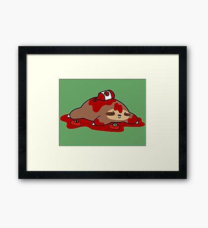 Messy Ketchup Sloth Framed Print