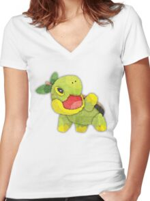 pokemon - turtwig Women's Fitted V-Neck T-Shirt