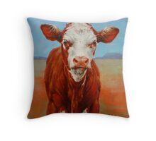 Calf Stare Throw Pillow