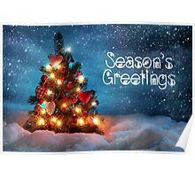 Cute Tree Christmas Card - Seasons Greetings Poster
