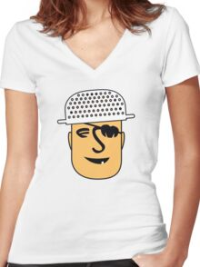 Pastafarian with Colander - Flying Spaghetti Monster FSM Women's Fitted V-Neck T-Shirt