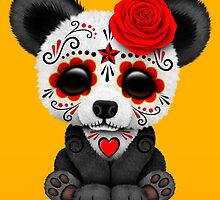 Red Day of the Dead Sugar Skull Panda by Jeff Bartels