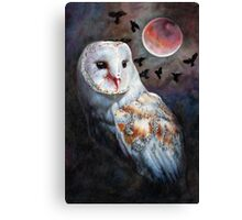 Owl of the Blood Moon Heart Canvas Print