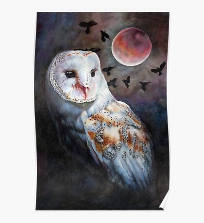 Owl of the Blood Moon Heart Poster
