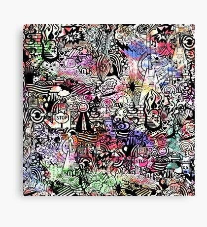 ironic chaos -  (black and white with color) Canvas Print