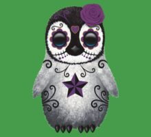 Purple Day of the Dead Sugar Skull Penguin  Kids Clothes