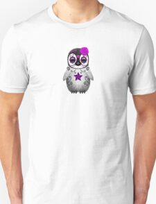 Purple Day of the Dead Sugar Skull Penguin  Unisex T-Shirt
