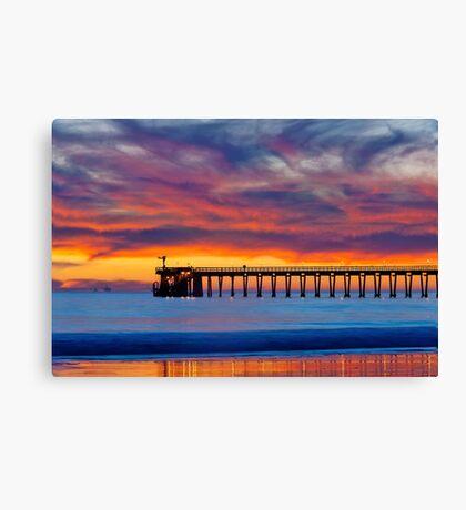 Bacara (Haskell's ) Beach and pier, Santa Barbara Canvas Print