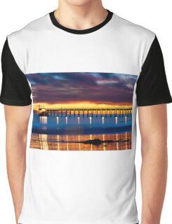 Venoco Ellwood Pier,  Bacara (haskell's) beach Goleta  at sunset Graphic T-Shirt