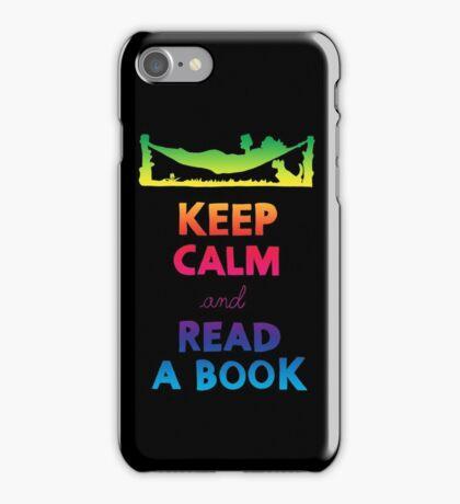 KEEP CALM AND READ A BOOK (RAINBOW) iPhone Case/Skin