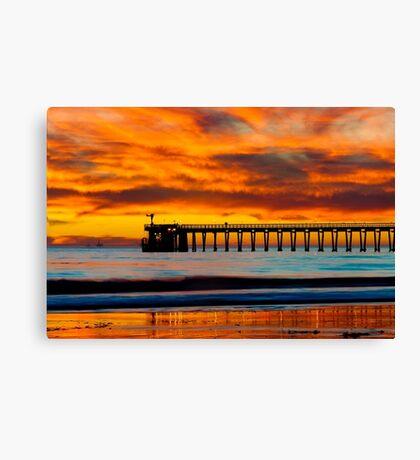 Venoco Ellwood Pier, in Bacara beach CA during sunset Canvas Print
