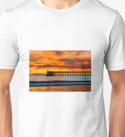Venoco Ellwood Pier, in Bacara beach CA during sunset Unisex T-Shirt