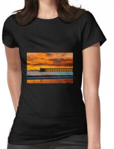 Venoco Ellwood Pier, in Bacara beach CA during sunset Womens Fitted T-Shirt