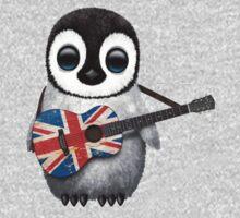 Baby Penguin Playing British Flag Guitar Kids Tee
