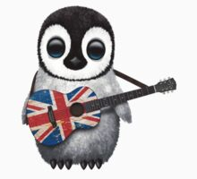 Baby Penguin Playing British Flag Guitar T-Shirt