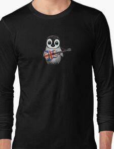 Baby Penguin Playing British Flag Guitar Long Sleeve T-Shirt