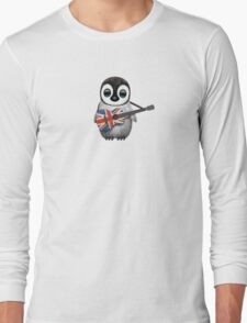 Baby Penguin Playing British Flag Guitar Long Sleeve T-Shirt