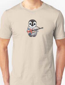 Baby Penguin Playing British Flag Guitar Unisex T-Shirt