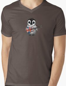 Baby Penguin Playing British Flag Guitar Mens V-Neck T-Shirt
