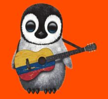 Baby Penguin Playing Colombian Flag Guitar Kids Clothes
