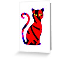 Sly Cat Red Greeting Card