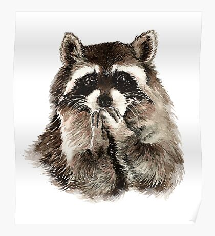Cute Raccoon Blowing Kisses Poster