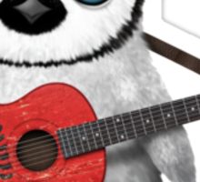 Baby Penguin Playing Albanian Flag Guitar Sticker