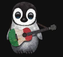 Baby Penguin Playing Italian Flag Guitar One Piece - Long Sleeve